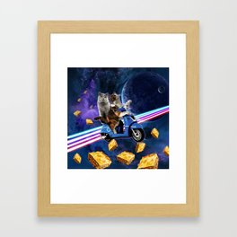 cat scooter travel with lasagne galaxy Framed Art Print