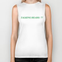 talking heads Biker Tanks featuring talking heads: 77 by Bad Movies