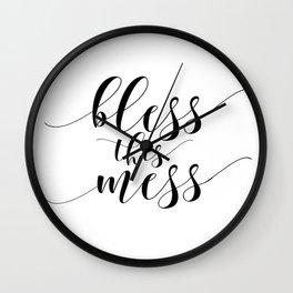Printable - Bless This Mess - Dorm Decor - Mom Print - Calligraphy Print Wall Clock