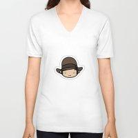 indiana jones V-neck T-shirts featuring Hello Indiana Jones !! Kawaii Cuteness! by Aimee Liwag