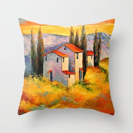 Settlement in the mountains Throw Pillow
