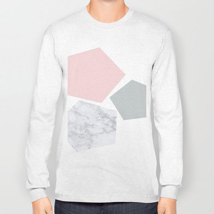 Blush, gray & marble geo Long Sleeve T-shirt