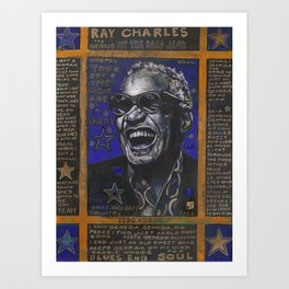 Ray Charles in Blue Art Print