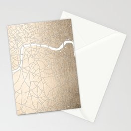 Gold on White London Street Map II Stationery Cards