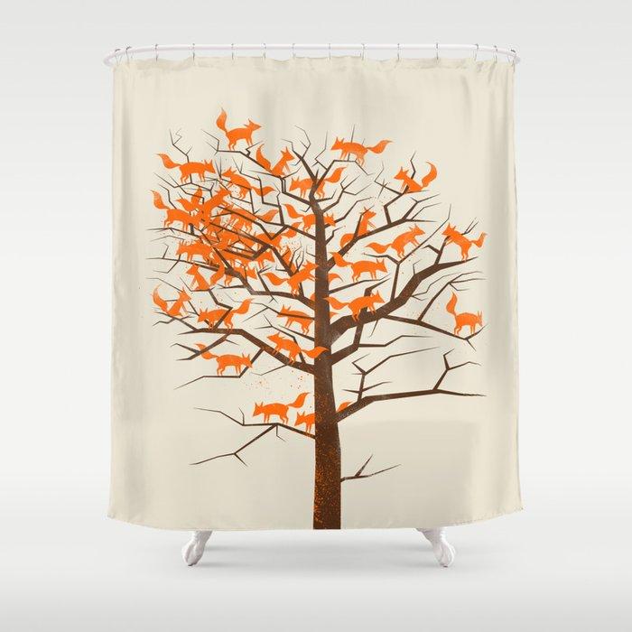 Blazing Fox Tree Shower Curtain