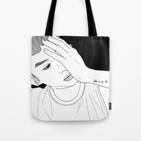 tatoo Tote Bags featuring Line Illustration #Tatoo by ODDbyhUGEcOncept
