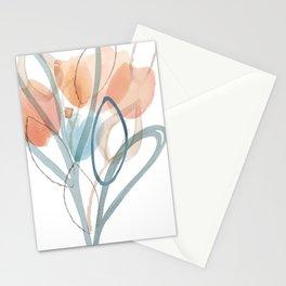 Tangerine &. Grey Flowers Stationery Cards