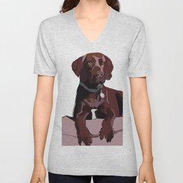 Labrador dog (chocolate) Unisex V-Neck