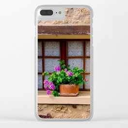French Window with Potted Plants Clear iPhone Case