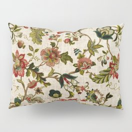 Red Green Jacobean Floral Embroidery Pattern Pillow Sham