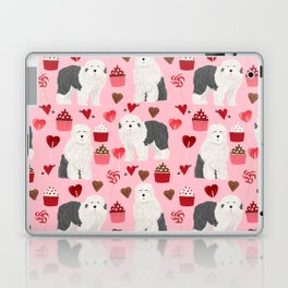Old English Sheepdog valentines day hearts cupcakes pattern pet portrait dog art gifts love Laptop & iPad Skin