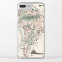 Vintage Map of South America (1858) Clear iPhone Case