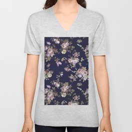 Elegant navy blue lilac pink gold glitter floral Unisex V-Neck