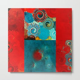 Teal and Red Swirls Metal Print