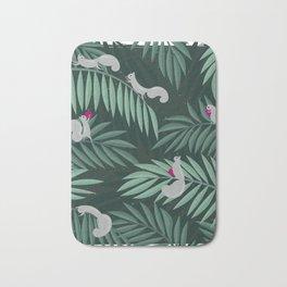 Palm Leaves & Squirrels Bath Mat