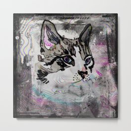 Siamese with Abstract Background & Black Edging Metal Print