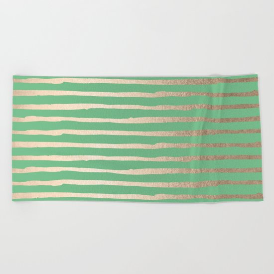 Abstract Stripes Gold Tropical Green Beach Towel