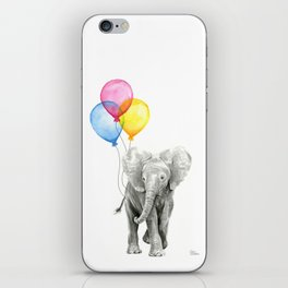 Baby Elephant with Balloons Nursery Animals Prints Whimsical Animal iPhone Skin