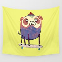 the dude Wall Tapestries featuring Pug Dude. by Ashley Percival illustration