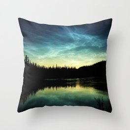 Noctilucent Clouds Over Forest Lake Throw Pillow