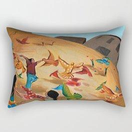 Happy children with Painted birds children's book Illustration Rectangular Pillow