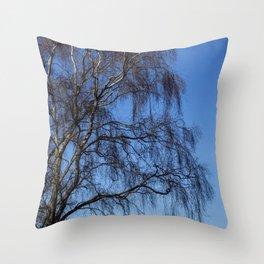 Winter Silver Birch Throw Pillow