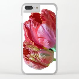Two Red Tulips Vector Isolated Clear iPhone Case
