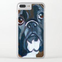Boxer Lil E Dog Portrait Clear iPhone Case