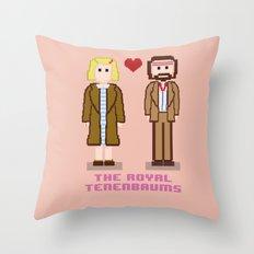 Margot and Richie Tenenbaum 8 bits Throw Pillow