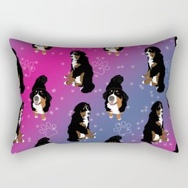 Bernese Mountain Dog /Pink Rectangular Pillow