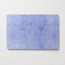 Pastel Blue Mandala Meditation Pattern Metal Print