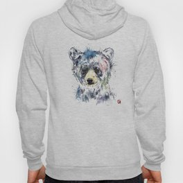 Baby Black Bear Watercolor Painting Hoody