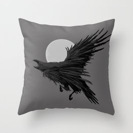 Crow & Moon Throw Pillow