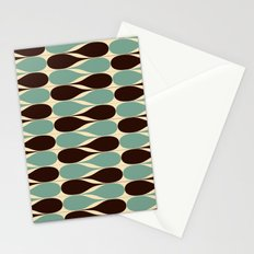Retro waterdrops pattern. Blue and Brown. Stationery Cards