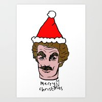 tom selleck Art Prints featuring Merry Christmas Tom you by Mary Naylor
