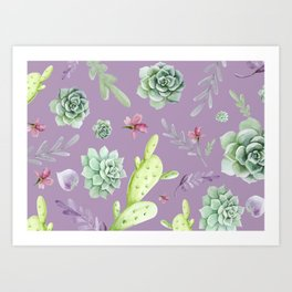 Cactus Watercolor Pattern 6 Art Print