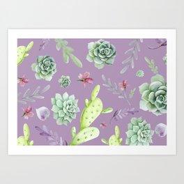 Cactus Watercolor Pattern 6 Art Print