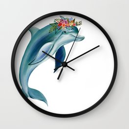 Dolphin Floral Wall Clock