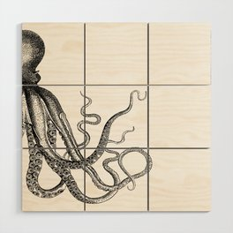 Half Octopus (Right Side) | Black and White Wood Wall Art