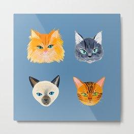 Cats Blue Metal Print