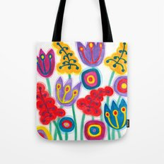 raw flower garden with tulips Tote Bag
