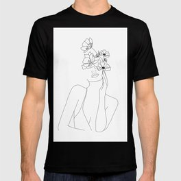 Minimal Line Art Woman with Flowers T-shirt