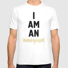I AM AN IMMIGRANT White MEDIUM Mens Fitted Tee