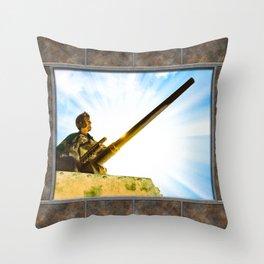 Vintage World War II Era Tank Commander Throw Pillow