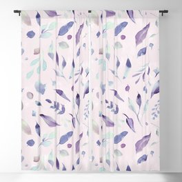 Modern blush pink navy blue purple watercolor floral Blackout Curtain