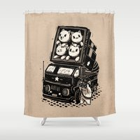 tool Shower Curtains featuring Cats by Ronan Lynam