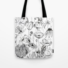 rabbits and flowers parties Tote Bag