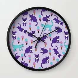 Cats and Ice Cream Wall Clock