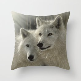 White Wolves - Sunlit Soulmates Throw Pillow