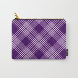 Royal Purple And White Plaid Carry-All Pouch